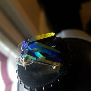Multicolored Oil Slick Crystalline Raw Stone Studs